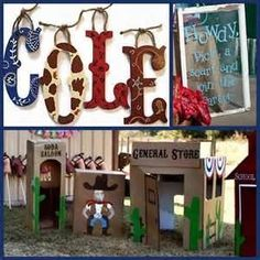 Painted wood letters to direct guests/identify rooms. Cardboard town for preschoolers.