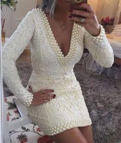 Short Sheath V-Neck Lace Homecoming Dresses Long Sleeves Backless Hoco Dresses Long Sleeve Homecoming Dresses, Hoco Dresses, Wedding Dresses, Different Dresses, Beautiful Dresses, Marie, Ideias Fashion, Party Dress, White Dress