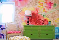 Pixelated Wall Art | DIY Wall Paint Ideas For Your Home Quick and Easy DIY Home Projects You Can Do This Weekend