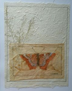 "Tea Bag Treasure's Suzanne LeLoup-West ""Butterfly"" Suzanne@suzannes-art-studio.com handmade paper 8""×10"" framed"