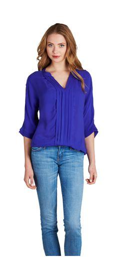 JOIE Marru Top China Blue | V-Neck Matte Silk Blouse