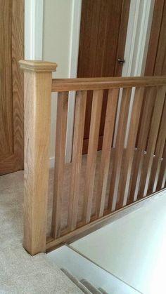 Solid oak balustrade and newel post