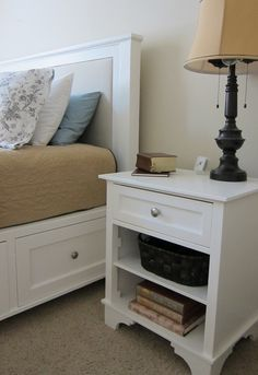 Instructions on how to build this bed and night stand from scratch....nightstand cost $30 Home Furniture, Bedroom Furniture, Furniture Projects, Furniture Plans, Diy Wood Projects, Home Projects, Furniture Sets, Nightstand Ideas, White Nightstand