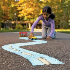 DIY Sidewalk Racetrack by spoonful: Make it with sidewalk paint! #DIY #Kids ##Sidewalk_Racetrack