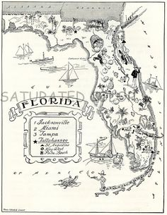 Animated FLORIDA State Map Print Cartoon Map Black White Gallery Wall Art Library Housewarming Gift For Birthday Wedding Anniversary Florida State Map, Places In Florida, Destin Florida, Old Florida, Florida Maps, Vintage Florida, Broward County Florida, Florida Pictures, Vintage Maps