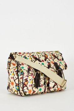 Birds Pattern Zip Fastening Cream Satchel Bag