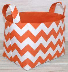 Fabric Basket Organizer Storage Bin   Chevron Zig Zag In Orange