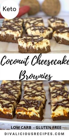 Coconut cheesecake baked on a chocolate brownie base is a great keto dessert. #coconutflour #ketodessert #ketocheesecake #lowcarb #glutenfree #ketocheesecake #cheesecakebrownie Coconut Cheesecake, Cheesecake Brownies, Keto Cheesecake, Gluten Free Recipes, Low Carb Recipes, Cooking Recipes, Chef Work, Keto Friendly Desserts, Paleo Dessert