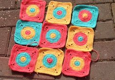 Crochet circle in a square baby blanket