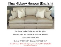 King Hickory Henson Sofa English Arm And Skirt