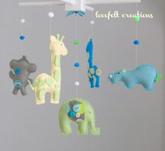Can be made in any color scheme! Baby crib mobile  Custom Baby Animal Mobile by LoveFeltXoXo, $99.00