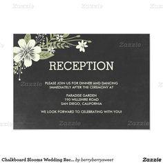 Chalkboard Blooms Wedding Reception Cards