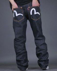 2421769f068d Classic Evisu Genes - Japanese short-loom selvidge edge denim with  hand-painted painted pockets.