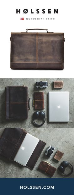 """WENDEL is the perfect leather briefcase / work bag / messenger bag for work or daily use. Fits a 13"""" - 15"""" Macbook pro. Perfect laptop case."""