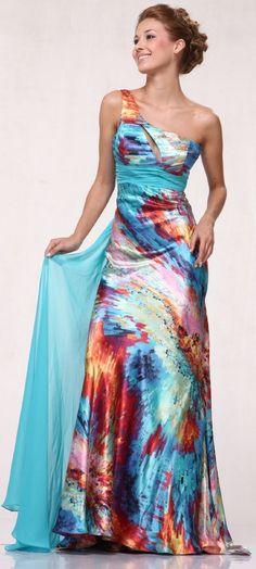 Aqua & Orange Satin Watercolor Print Empire Waist One Shoulder Prom Dress Dress P, Party Dress, Dress Long, Party Wear, Homecoming Dresses, Bridesmaid Dresses, Evening Dresses, Formal Dresses, Formal Wear