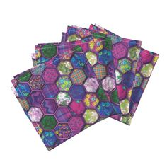 Amarela Dinner Napkins featuring METALLIC MIX HEXIES 3D FUCHSIA PINK by paysmage | Roostery Home Decor