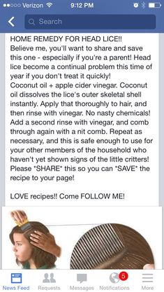 Home remedy for head lice #naturalparentinghomeremedies