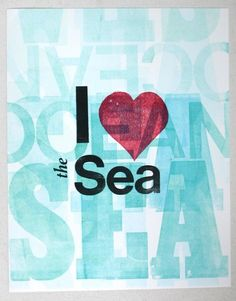 I Love The Sea Lettepress poster print van op Etsy