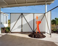 Possibly use wall for doggie area??  A Mid-Century Modern Inspired Home: Craig Steely Studio.