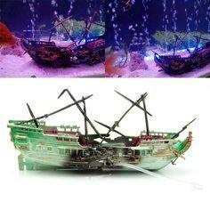 Aquarium Ornament Wreck Boat Sunk Ship Air Split Shipwreck Fish Tank Cave Decor in Pet Supplies, Fish & Aquariums, Decorations | eBay