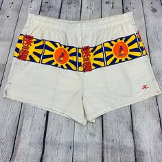 c3f310d01b Hobie Vintage 1980s/ Cotton Board Shorts/ Made Japan/ Sun Sailboat Flag  Design/ Women's Large