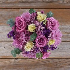 Purple Flower Arrangement with Lavender Roses, Ivory Roses, Pink Limonium, and Pink Mums 5 Ivory Rose Bouquet, Ivory Roses, Pink Bouquet, Lavender Roses, Purple Flowers, Bouquets, Pretty Flowers, Purple And Green Wedding, Purple Wedding Flowers