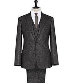 Napoli Dark Grey Three Piece Geo Print Suit - REISS