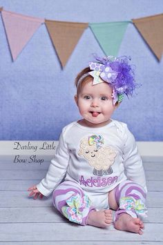 Over The Top Bow  Lavender Lamb  beautiful by DarlingLittleBowShop