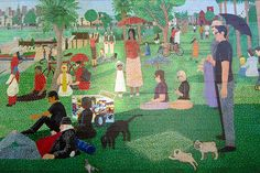 Mural titled A Sunday Afternoon at Dolores Park by Daniel Doherty. The mural location is Guerrero Market, 701 Guerrero St at Mission. Murals Street Art, Mural Art, Solar Activity, Dolores Park, San Francisco, Sunday, Activities, Cabana, Painting