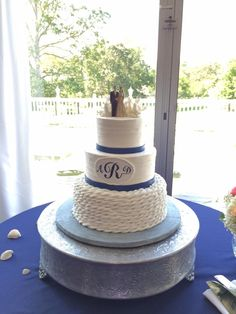 Nautical rope, coral and monogram wedding cake.  Cindy's Cakery // Ford's Colony Country Club.