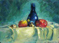 """Blue Vase with apples"" - Original Fine Art for Sale - © Dave Froude"
