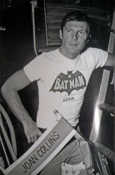 Adam West standing behind Joan Collin's star chair during filming of The Siren Batman episode. Real Batman, Batman Tv Show, Batman Tv Series, Im Batman, Batman Robin, Batgirl, Catwoman, James Gordon, Adam West Batman