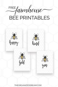 If you're looking for a fun and easy way to add a little bit of summer to your home, grab one of our free farmhouse bee printables we're sharing here today! Bee Quotes, Bee Free, Free Printable Art, Free Printables, Diy And Crafts, Paper Crafts, Bee Cards, Bee Gifts, Bee Design