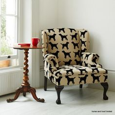The Labrador Company Eaton Wing Chair - Labrador Bespoke Eaton textured Labrador Fabric covered armchair. Made in Dorset by a specialised cabinet maker & upholsterer. Beech frame with mahogany legs. We can cover any chair or sofa, old or new.  We have an upholsterer on the team and we are happy to arrange a quote for you. Made in England