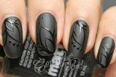 Satin matte black nails with gloss black design black on black elegant  Saturday POW #2
