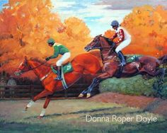 Two horses jumping over a fence in a steeplechase race with fall foliage. Two Horses, Oil Painters, Equine Art, Fine Art Gallery, Oil On Canvas, Virginia, Fall, Artwork, Racing