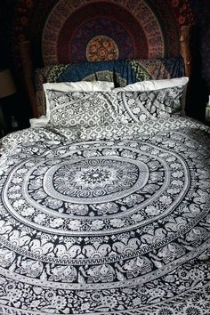 36c99905338 Mandala Elephant flower duvet cover beading decor home 100 Cotton Duvet  Covers