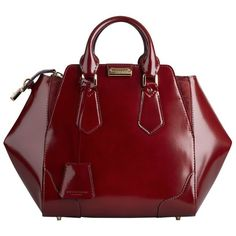 Burberry Medium Polished Leather Tote Bag ($2,195) ❤ liked on Polyvore featuring bags, handbags, tote bags, purses, totes, red leather purse, vintage leather tote, red tote bag, burberry tote and leather purse