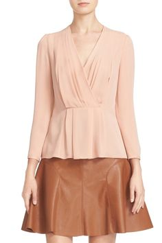 Pleated Georgette Faux Wrap Blouse by Rebecca Taylor