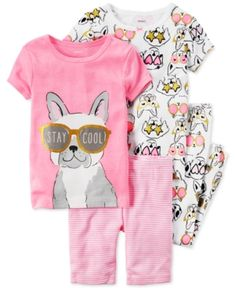 Carter's 4-Pc. Stay Cool Dog Pajama Set, Toddler Girls (2T-4T) - Prt Print 4T