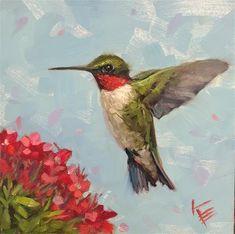"""Hummingbird & Flowers"" original fine art by Krista Eaton Bird Paintings On Canvas, Bird Painting Acrylic, Bird Canvas, Bird Artwork, Paintings I Love, Animal Paintings, Rock Painting, Watercolor Hummingbird, Hummingbird Art"