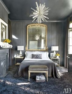grey bedroom Interior Designer Lee Ledbetter, image via Architectural Digest Home Bedroom, Bedroom Decor, Bedroom Ideas, Bedroom Lighting, Bedroom Chandeliers, Chandeliers Modern, Bedroom Wall, Sputnik Chandelier, Headboard Ideas