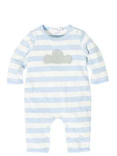 £32.25 Bonnie baby London Cotton Babysuit onesie with knitted applique Cloud, -BREE