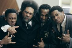 Carlos Barksdale, Dr. Cornel West, Blair Matthews, and Ronald Glenn, Brothers of Alpha Phi Alpha Fraternity, Inc. showing some intensity for the Frat at Columbia University