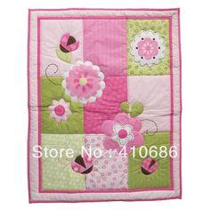 Lovely Ladybug Pink Flowers For Girls Baby Quilt Nursering Summer Comforter