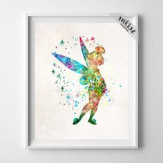 Tinker Bell, Peter Pan Disney Watercolor Art Print. Prices from $9.95. Available at www.InkistPrints.com - Tinker Bell Art, Peter Pan Watercolor, Tinkerbell Art, Disney Poster, Tinkerbell Print, Nursery Art, Baby Room, Christmas Gift