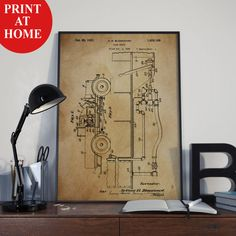 Firefighter Truck Patent Art Print-Old Poster-Patent Prints-Patent Poster-Printable Wall Art-Man Cave Decor-Boyfriend Gift-Husband Gift