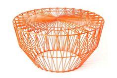 Drum table/ottoman in orange