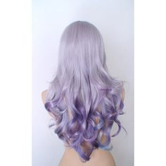 Pastel Wig Silver lavender/teal Purple Ombre Wig Long Curly Hairstyle... ($180) ❤ liked on Polyvore featuring beauty products, haircare, hair styling tools, hair, hairstyles and curly hair care