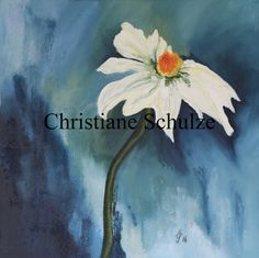 Mixed Media Painting  Alpine Marguerite Daisy